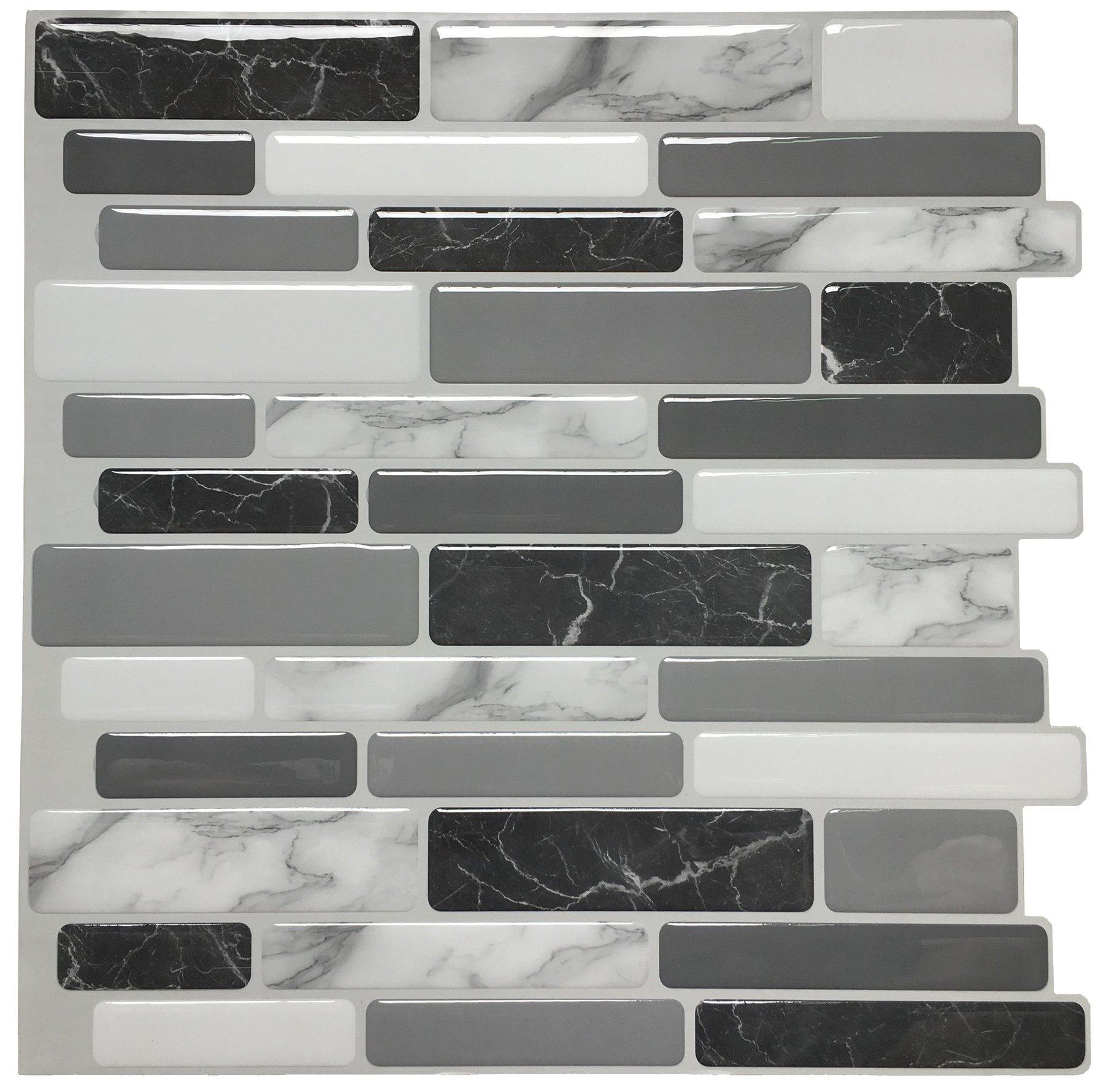 Art3d 12''x12'' Peel and Stick Backsplash Tile for Kitchen, Marble Grey (6 Pack) by Art3d