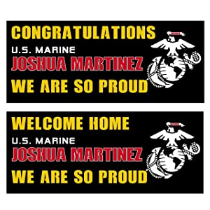 U.S. Marines Graduation and Welcome Home Banners Customized