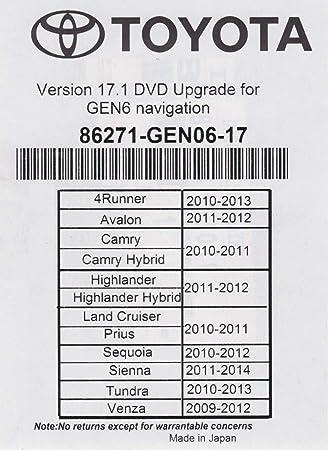 2018 Toyota Navigation DVD Gen 6 U99 17.1 Map GPS Update