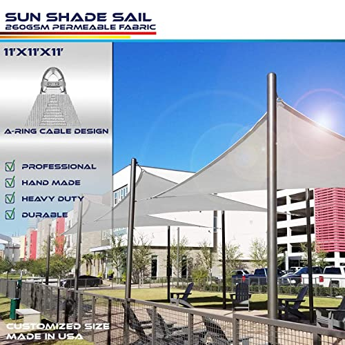 Windscreen4less A-Ring Reinforcement Large Sun Shade Sail 11 x 11 x 11 Equilateral Triangle Super Heavy Duty Strengthen Durable 260GSM -Galvanized Cable Enhanced – Light Grey 7 Year Warranty