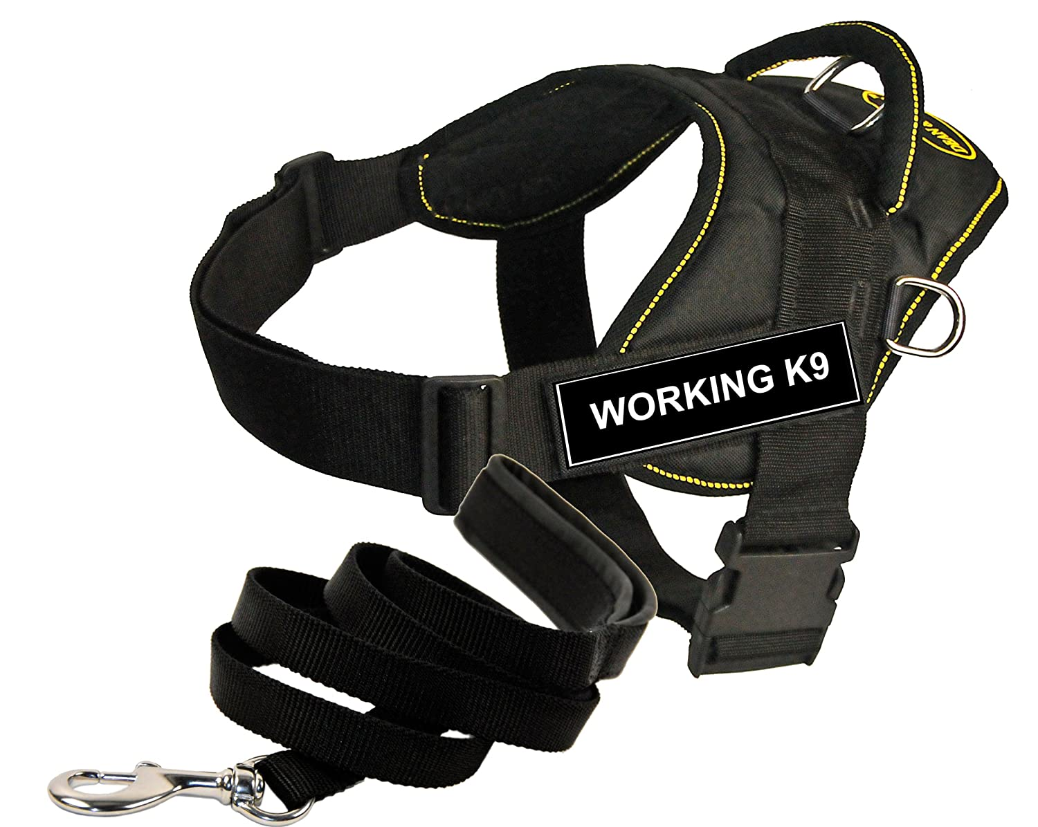 Dean and Tyler Bundle One DT Fun Works  Harness, Working K9, Yellow Trim, XL (34  47 ) + One Padded Puppy  Leash, 6 FT Stainless Snap Black