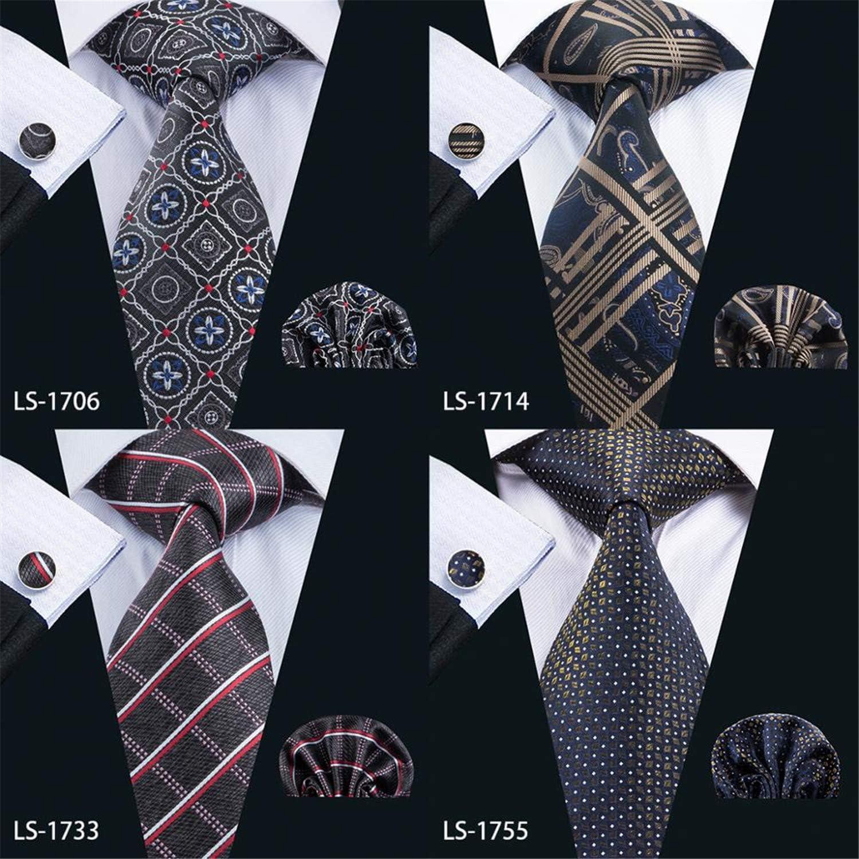 Zcaosma Mens Ties Plaid Silk Jacquard Woven Necktie Cufflink Set Ties For Men Formal Wedding Party