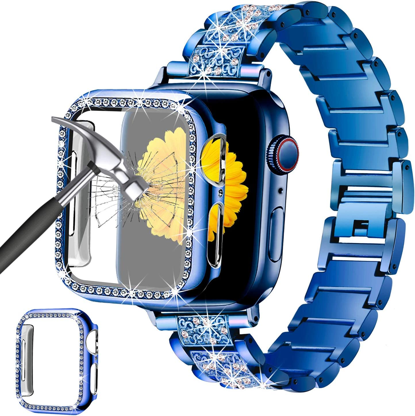 Mesime Compatible for Apple Watch Band 38mm 40mm 42mm 44mm with Screen Protector Case, Jewelry Replacement Metal Band & 2-Pack Bling Full Cover Protective Case for iWatch Series 6/5/4/3/2/1(Blue)