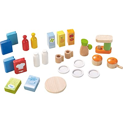 "HABA Little Friends Dollhouse Kitchen Accessories - 24 Piece Set for 4"" Bendy Dolls: Toys & Games"