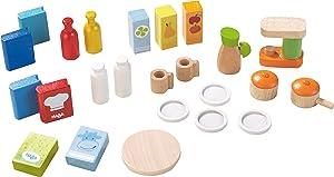 "HABA Little Friends Dollhouse Kitchen Accessories - 24 Piece Set for 4"" Bendy Dolls"