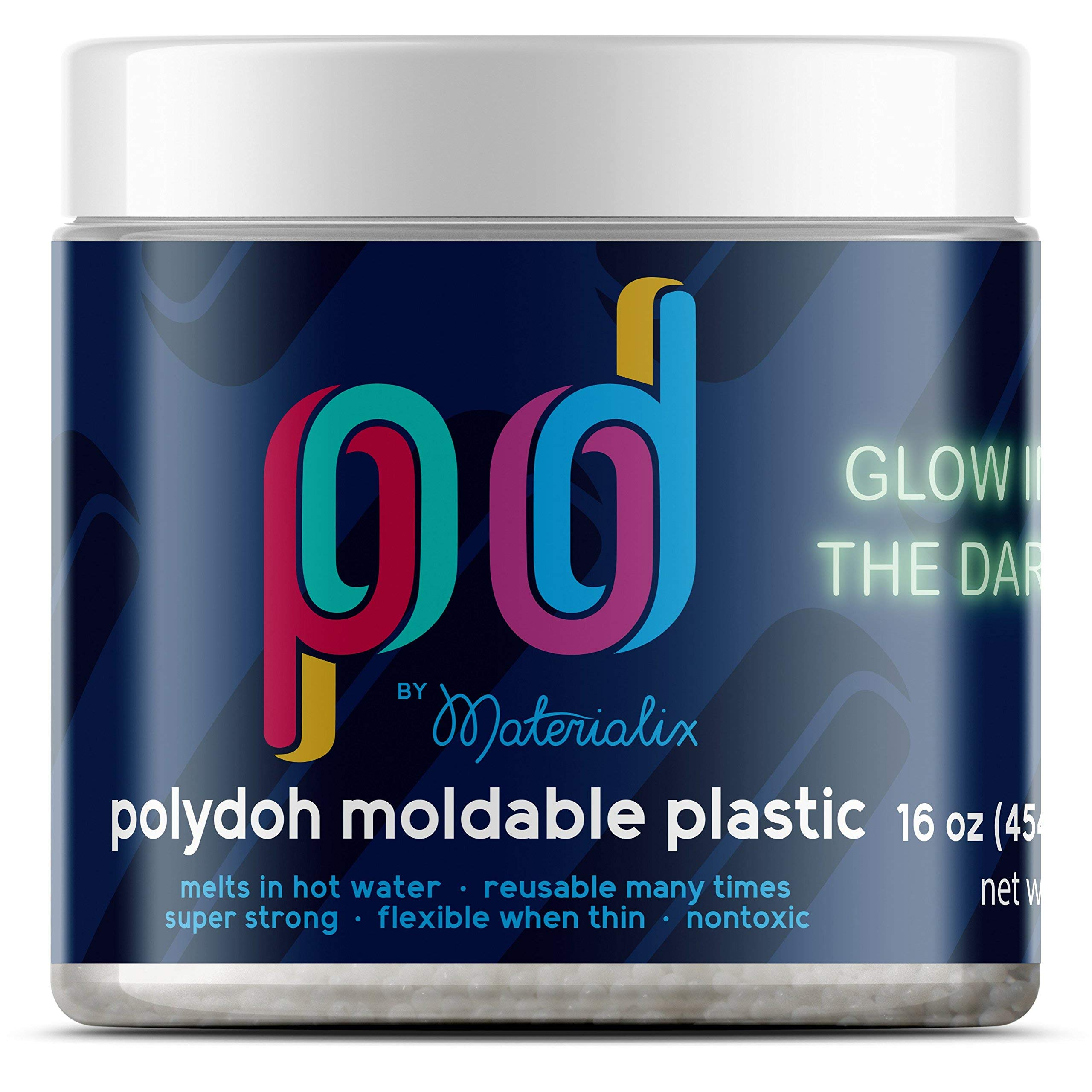Polydoh Glow in The Dark moldable Plastic, 16oz tub [Polymorph, plastimake] by Materialix