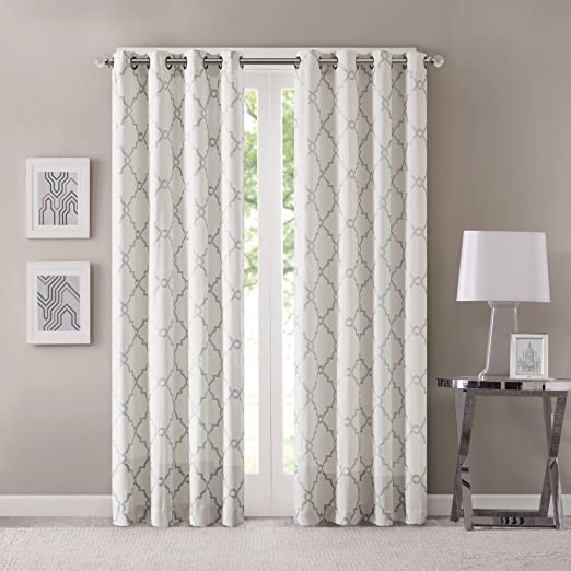 Winter White Exclusive Home Curtains Michel Window Curtain Panel Pair with Grommet Top 50x108 2 Piece