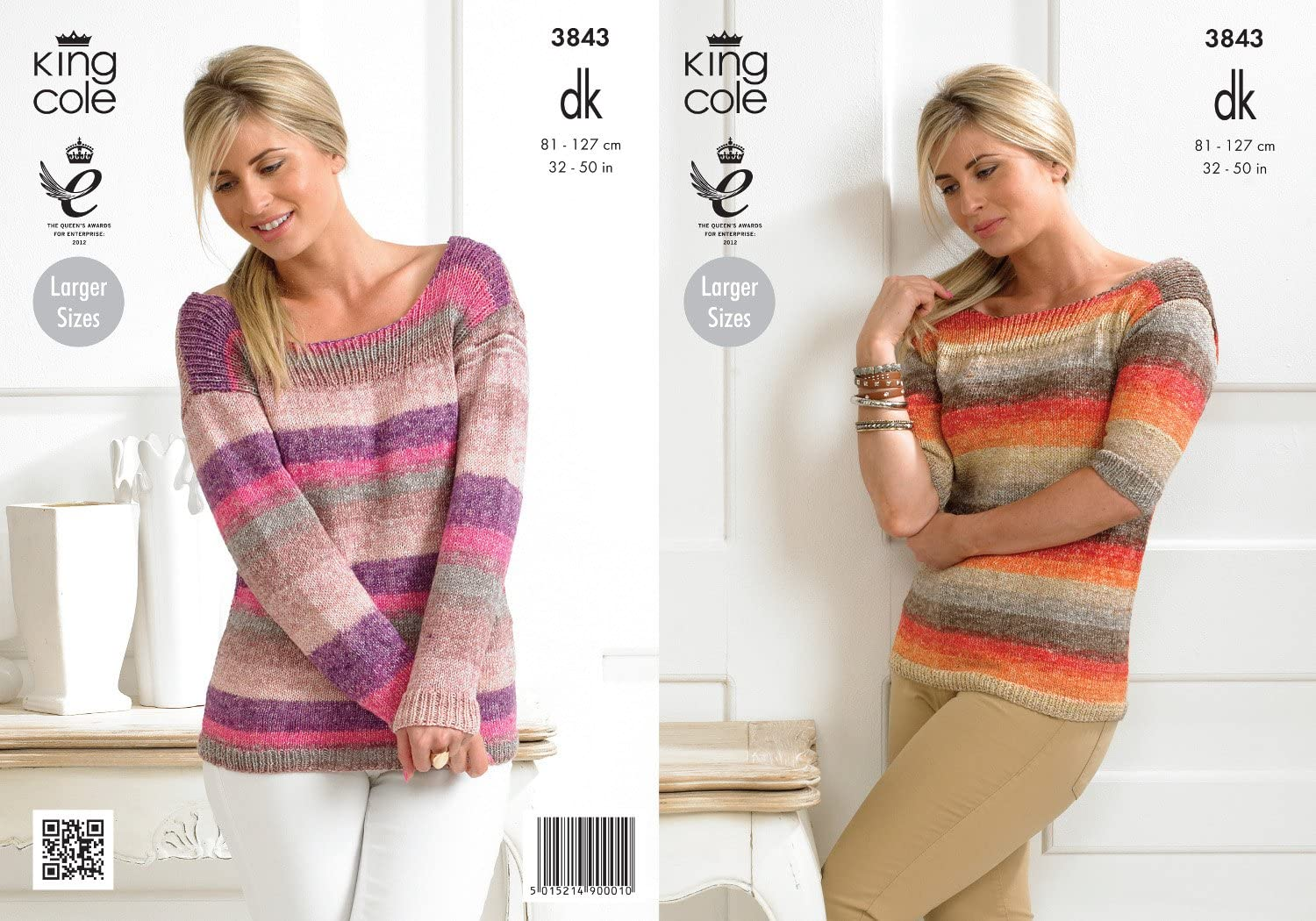 Womens Striped Sweater /& Cardigan Ladies Double Knitting Pattern King Cole 5313