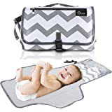 Eloni Baby Portable Diaper Changing Pad - Compact Changing Station, Foldable into a Clutch - Perfect for Travel with an Infant or Toddler - Grey Chevron