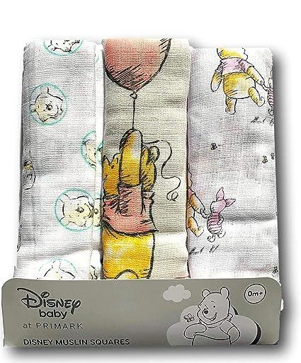 Primark Winnie Pooh Disney - Pañales de gasa, 70 x 70 cm, 3 unidades