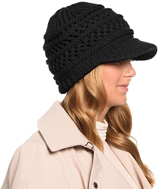 Angela William Women S Ribbed Knit Hat With Brim Black