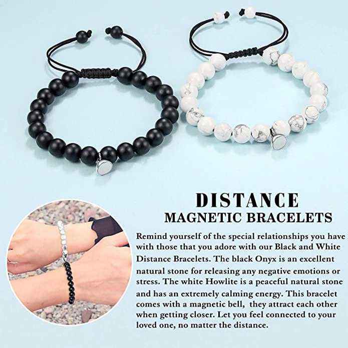 Lansabate Magnetic Bracelets for Couples 2 Pieces Magnet Matching Distance Relationship Bracelet for Couples Natural Stone Beads Bracelets for His and Hers Boyfriends and Girlfriends