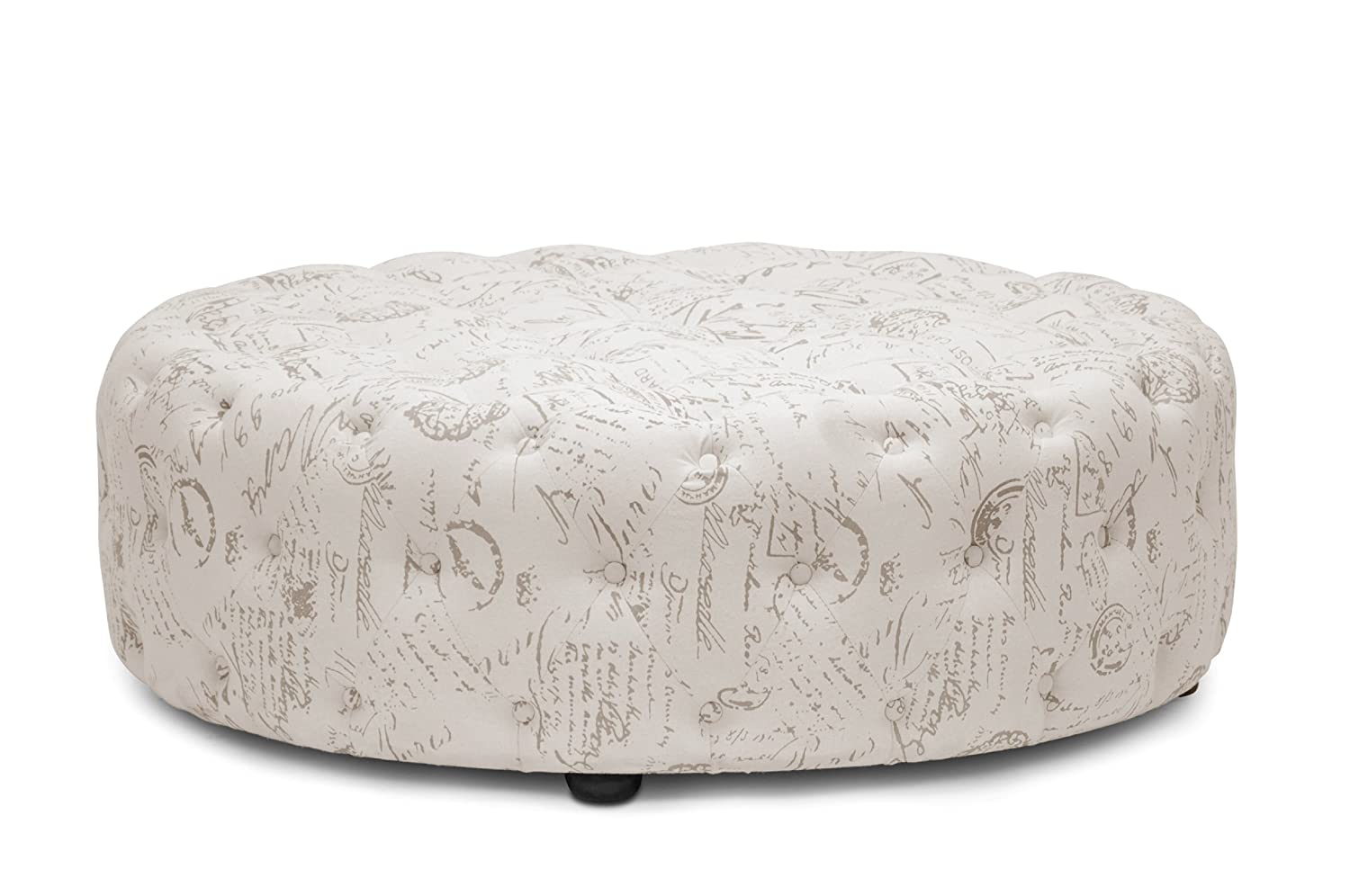 Surprising Baxton Studio Cardiff Script Print Modern Tufted Ottoman Beige Gmtry Best Dining Table And Chair Ideas Images Gmtryco