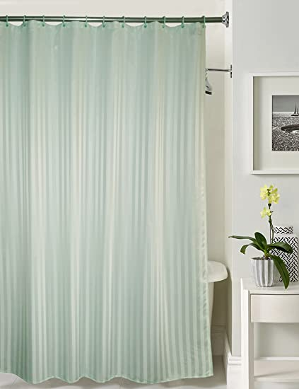 Lushomes Polyester Blend Thick Striped Water Repellent 185 x 205 cm Shower Curtain with 12 Eyelets and 12 C-Hooks-Light Green