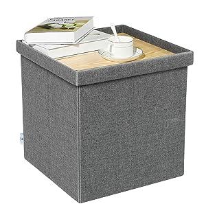 "B FSOBEIIALEO Storage Ottoman with Tray, Linen Small Coffee Table Folding Foot Rest Seat Cube, Dark Grey 16""X15.7""x15"""