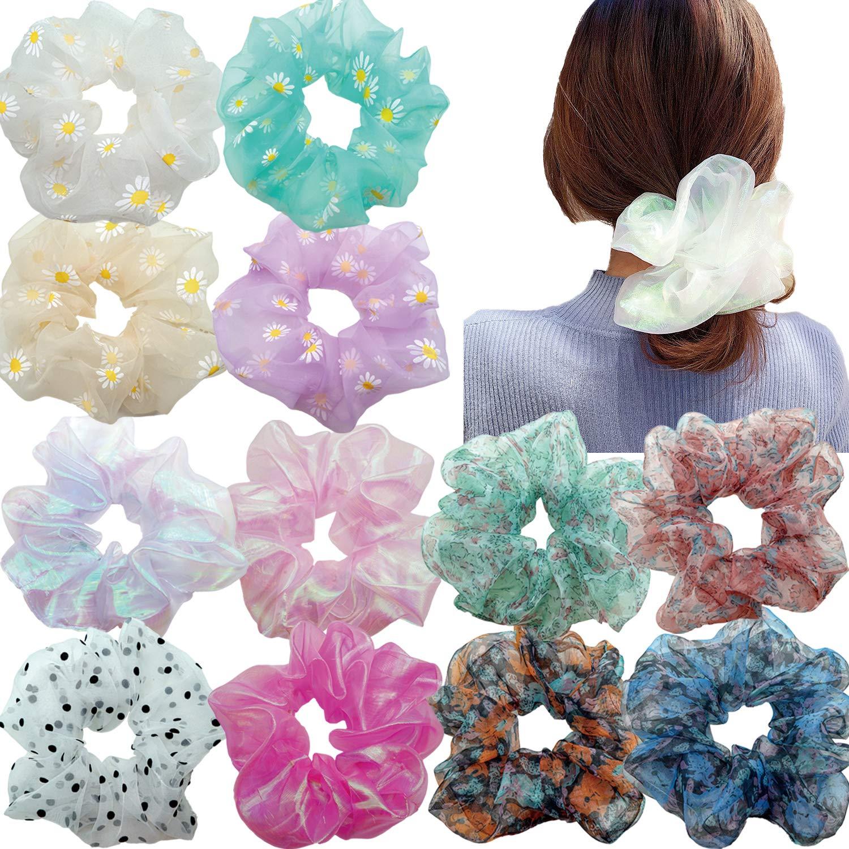 Gold Blossom Scrunchies Pack for Girls Scrunchies Set