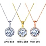 Round Moissanite and Diamond Necklace 1 5/8 CTW 14k Gold