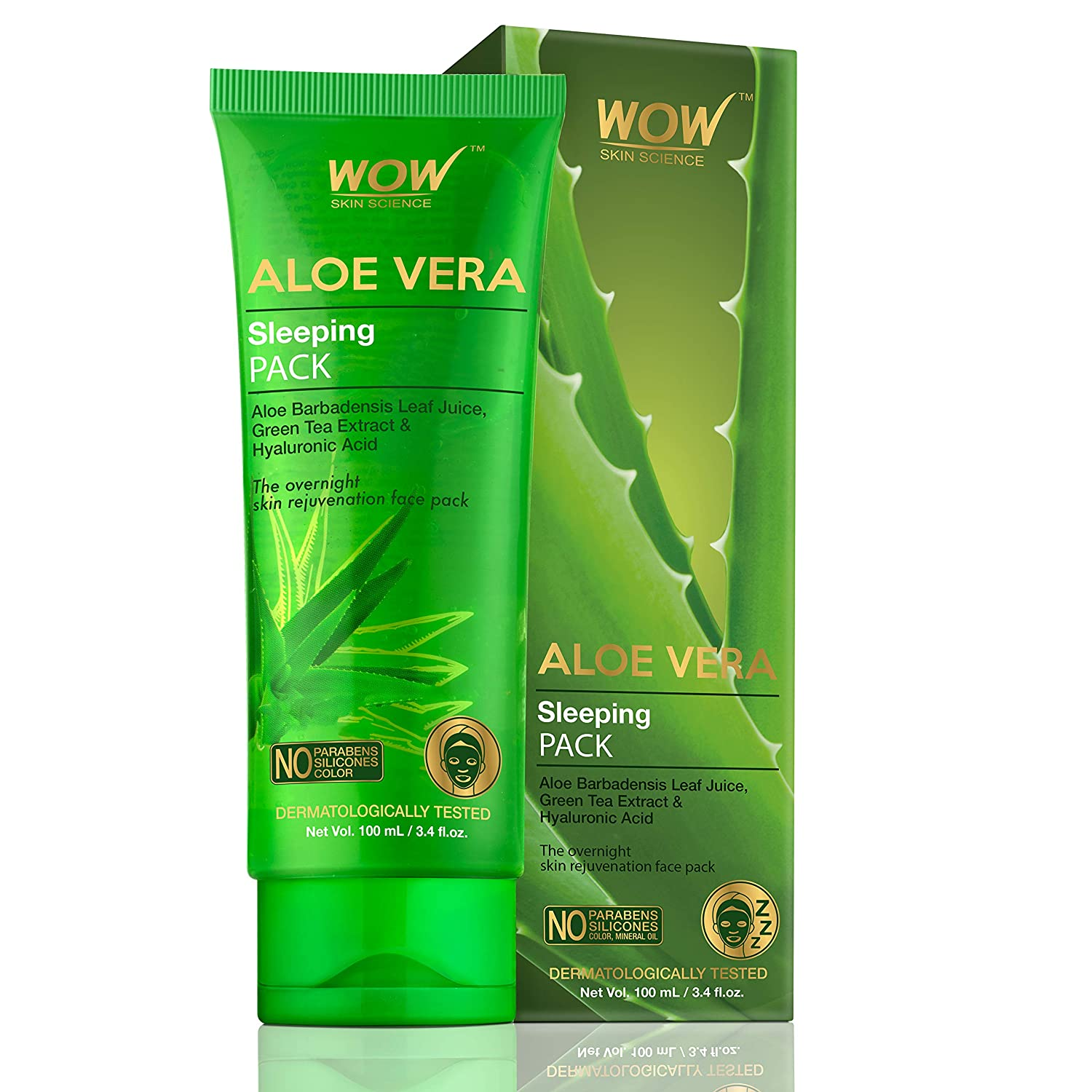 WOW Skin Science Aloe Vera With Green Tea Extract and Hyaluronic Acid Sleeping Pack, 100 ml