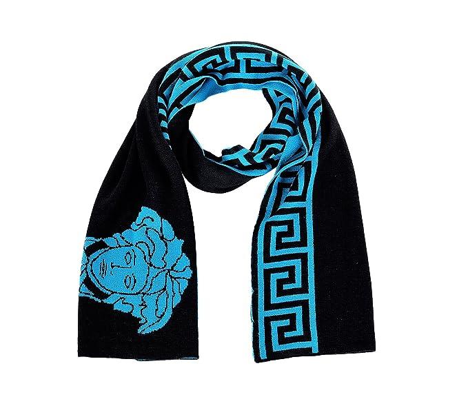9d73ff3b3a Versace Medusa Head With Greek Key Wool Scarf Black Turquoise ...