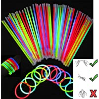 """100 X 8"""" Glow Sticks Bracelets Necklaces Neon Colors Glow in Dark Party Favors Disco Rave Assorted UK Quality"""