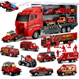 19 in 1 Fire Truck with Firefighter Toy Set, Mini Die-cast Fire Engine Car in Carrier Truck, Mini Rescue Emergency…