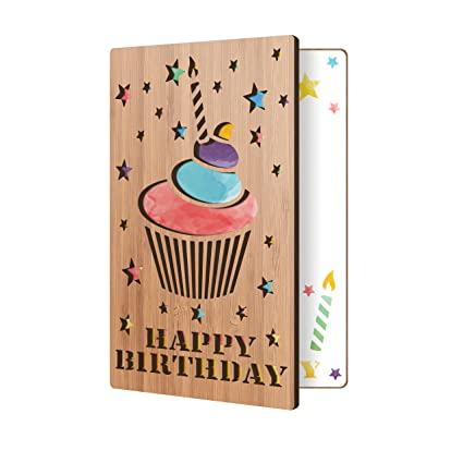 Happy Birthday Card Real Bamboo Wood Greeting With Cupcake Design Premium Handmade