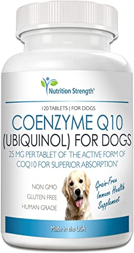 Nutrition Strength Coenzyme Q10 for Dogs Grain-Free Supplement, Ubiquinol – The Electron-Rich Form of CoQ10, Promotes Heart Health, Cognitive and Energy Support for Dogs, 120 Chewable Tablets