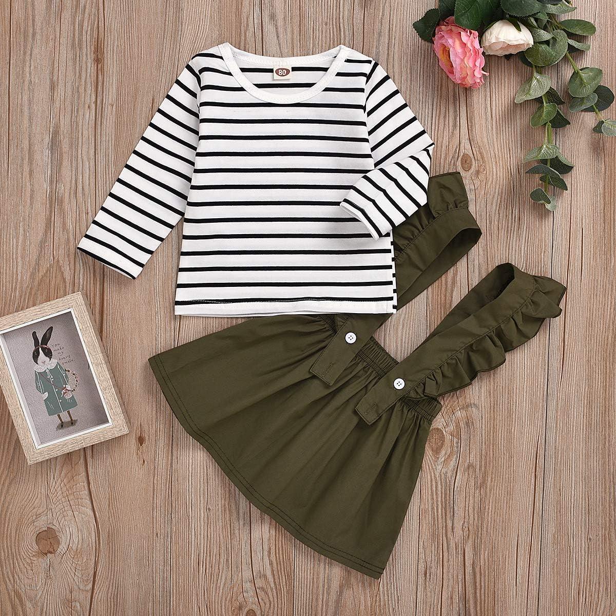 baskopa Baby Girl Kids Clothes Outfits Stripe Long Sleeve Sweatshirt Ruffle Suspender Dress Outfits