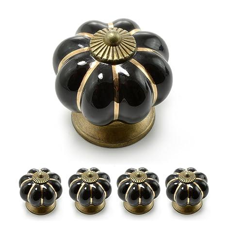 Ganzoo - Tiradores para muebles con corona de porcelana, con adornos dorados, diseño vintage (juego disponible en muchos colores diferentes)