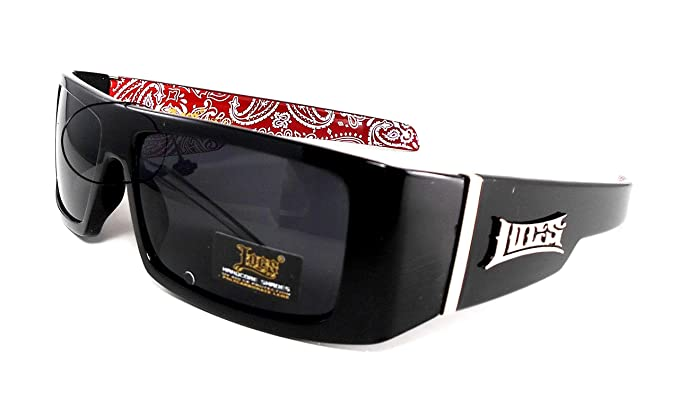 389fb37280 Amazon.com  LOCS Black Harcore 58 Bandana Red Inside Sunglasses + ...