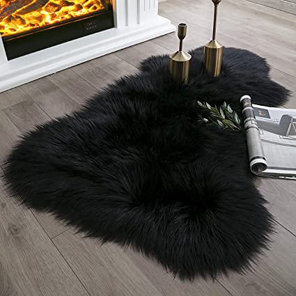 a0280b498e9 Ashler Soft Faux Sheepskin Fur Chair Couch Cover Black Area Rug for Bedroom  Floor Sofa Living Room 2 x 3 Feet