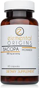 Bacopa Monnieri Leaf Extract 300mg - Himalaya Brahmi Proven to Improve Memory, Mental Alertness, Cognitive Health, Relaxation, Sleep and Reduce Anxiety. Includes 60 Vegetable Capsules Per Bottle.