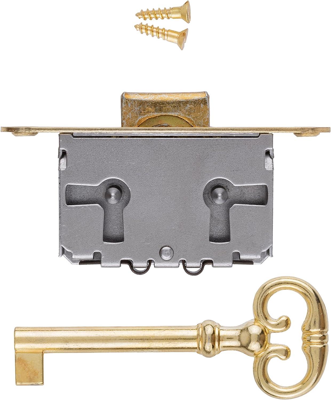 Full Mortise Lock w/Skeleton Key | 3-Way Mounting for Dresser Drawer or Cabinet Door | Antique, Vintage, Modern Furniture Hardware | M-1888