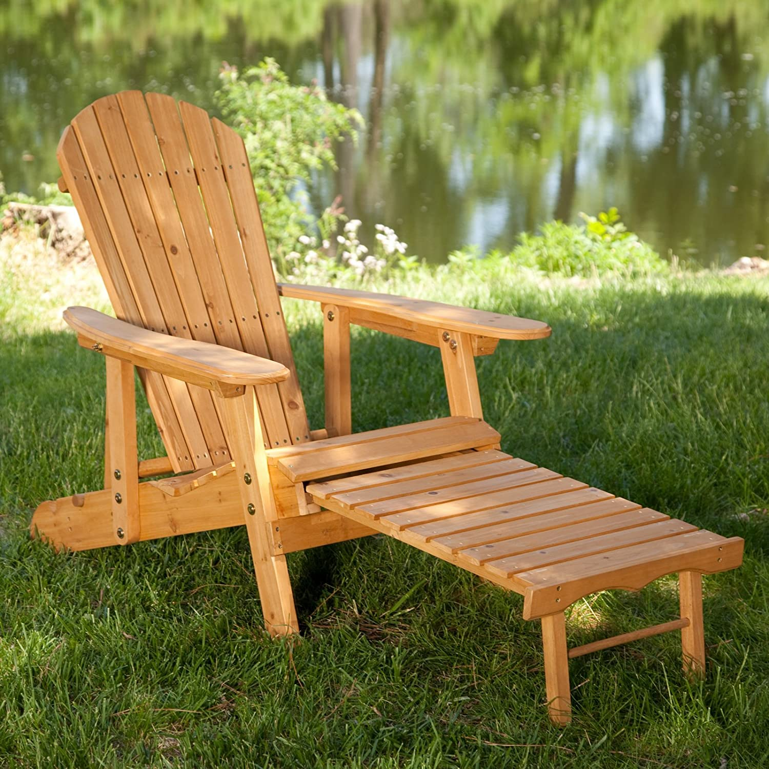 Amazon.com : Big Daddy Reclining Adirondack Chair Set With FREE Side Table    Natural : Garden U0026 Outdoor