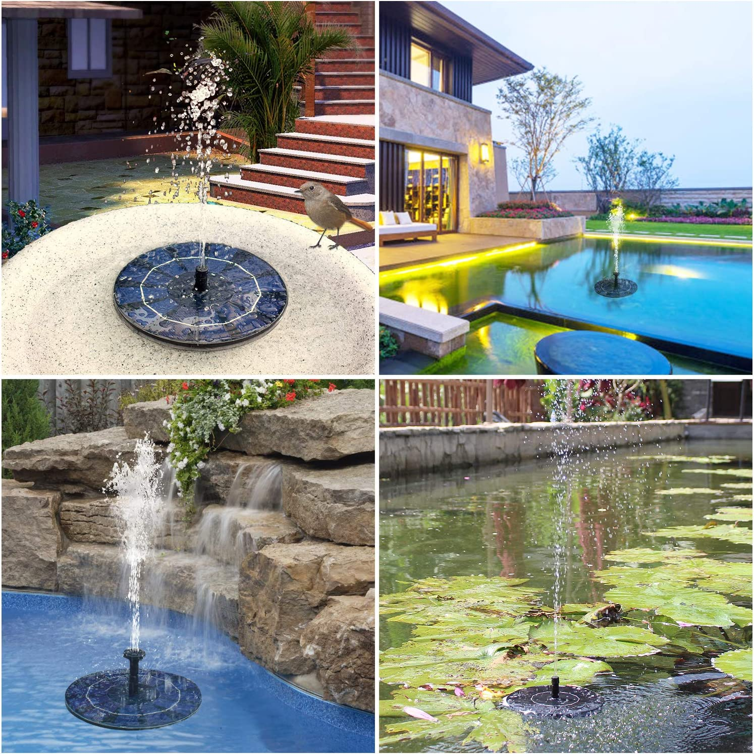 Outdoor Solar Powered Fountain Water Pump Kit Floating Panel Pond Pool Garden UK