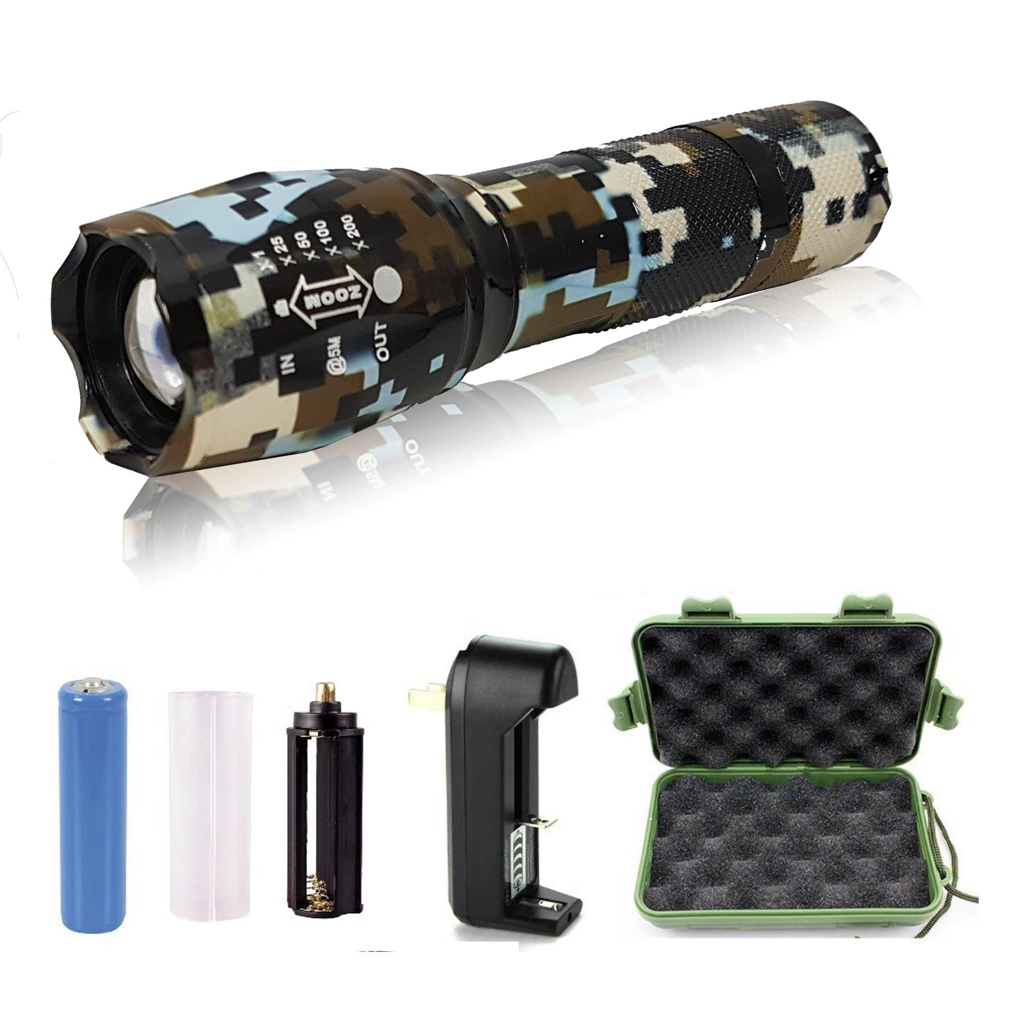 5starsuperdeals Rechargable Plastic/Aluminum 5-mode, Adjustable-focus, Ultra-bright LED Flashlight Kit Camo Dark Brown