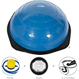 JLL® Maze Balance Trainer - Makes Balance Training More Fun And Challenging (modeled on the Bosu Balance Trainer), Heavy duty suitable for Home and Gym, air pump and resistance bands included. Available in Silver or Blue
