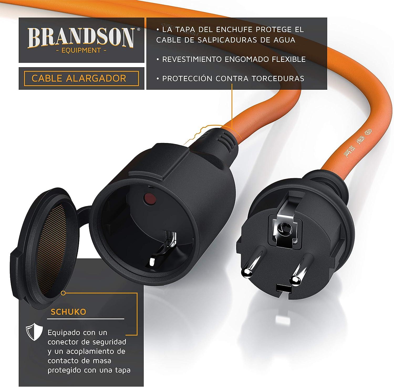 UV IP44 Enchufe con Tapa Protectora Brandson MAX 3500 W Cobre Revestimiento Flexible de Goma Resistente a Lluvia Impactos aceites Cable alargador Schuko 5m para Exteriores