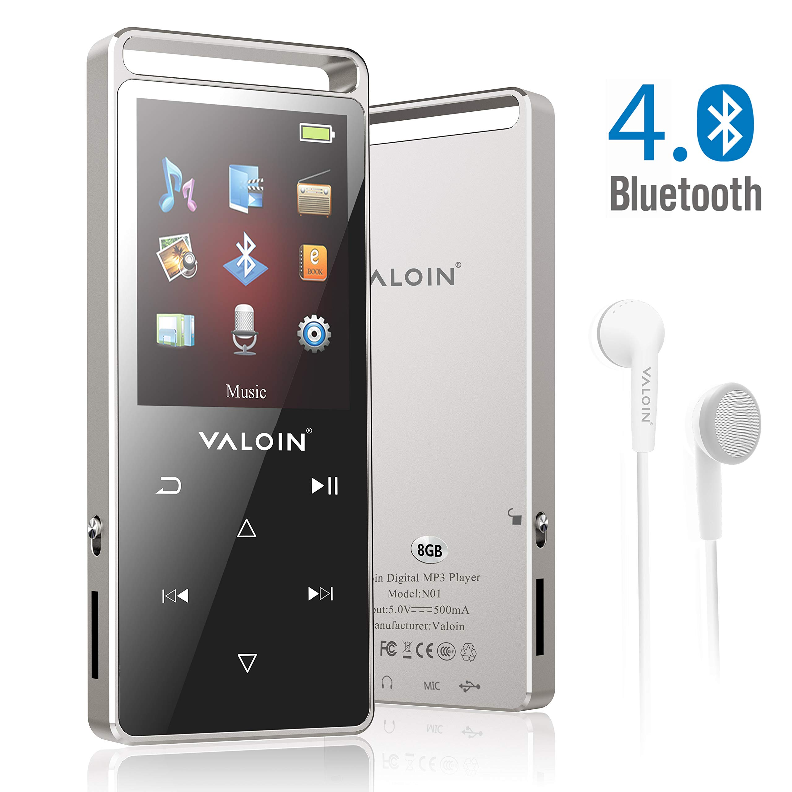 MP3 Music Player with Bluetooth 4.0, Valoin 8GB Portable Lossless Digital Audio Player with FM Radio/Voice Recorder for Walking Running, Metal Shell Touch Buttons (Support up to 128GB)