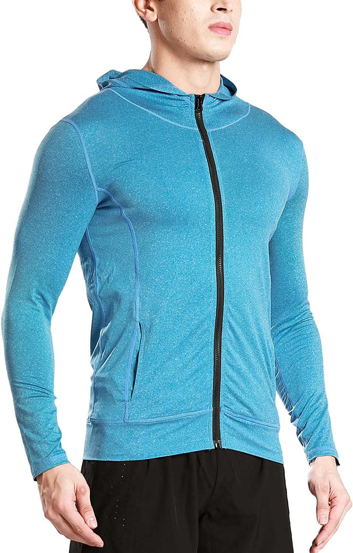 PAIZH Mens Slim Fit Long Sleeve Lightweight Zip-up Workout Hoodie