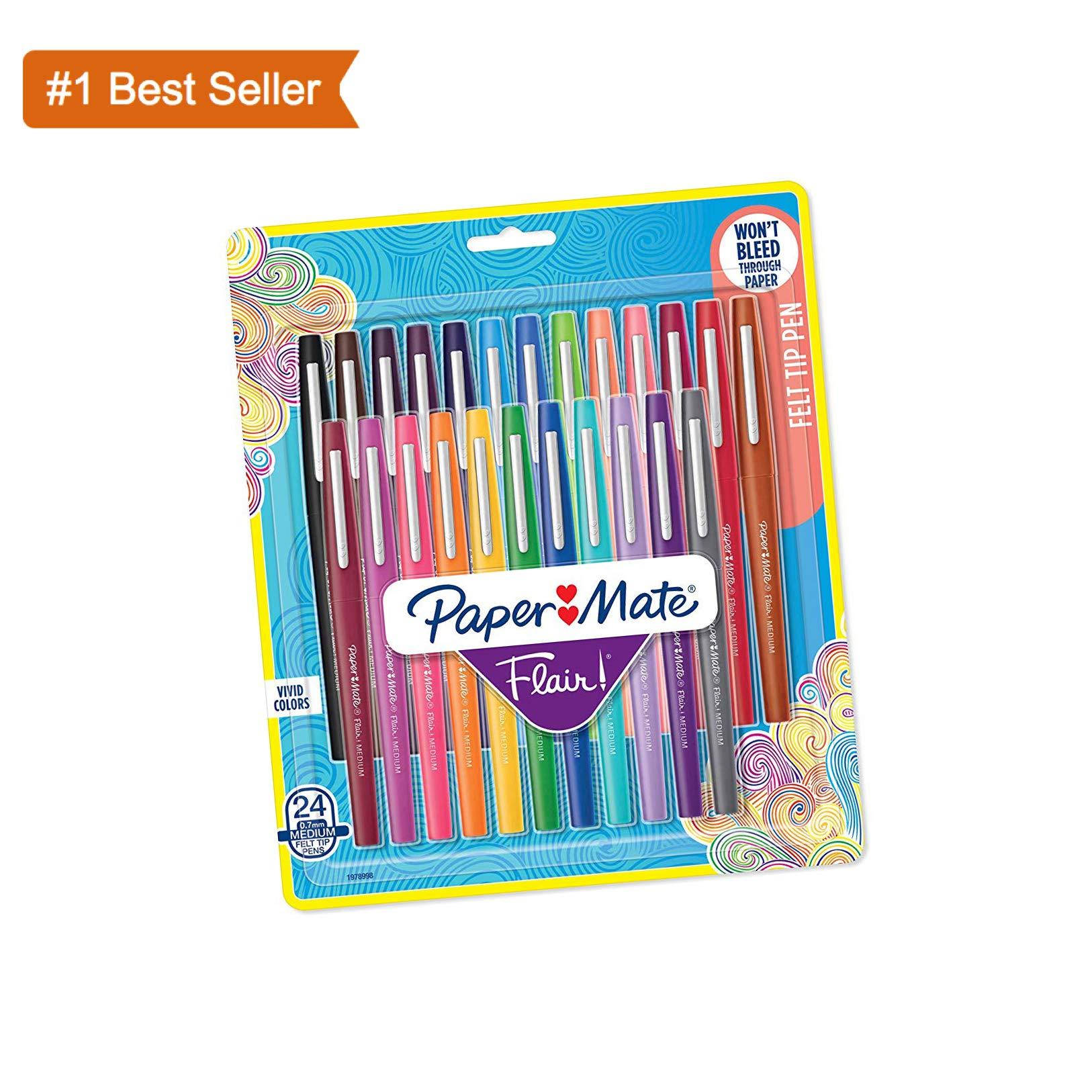 Paper Mate Flair Felt Tip Pens, Medium Point (0.7mm), Assorted, 24 Count