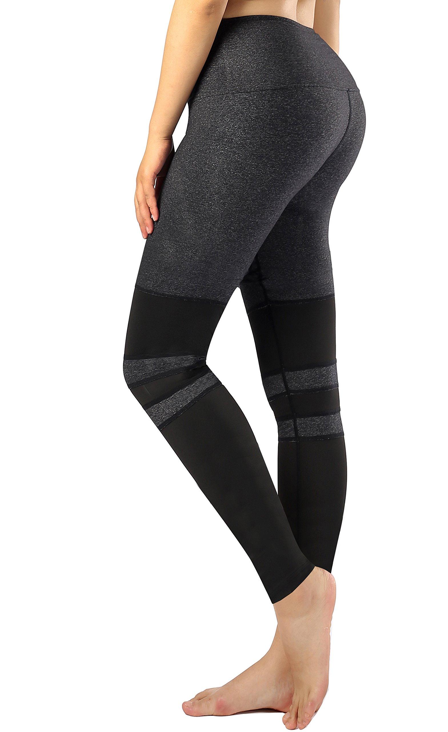 Sugar Pocket Women's Ankle Tights Running Pants Exercise Leggings Side Pocket L(Grey/Black)