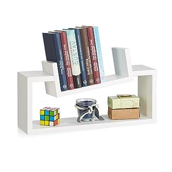 Relaxdays Wandregal 2er Set Modernes Design Wandboard Holz