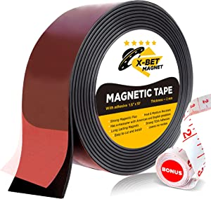 Flexible Magnetic Tape - Wide 1.5 Inch x 10 Feet Magnetic Strip with Strong Self Adhesive - Premium Magnetic Roll for DIY and Craft Projects - Sticky Magnets for Refrigerator and Dry Erase Board