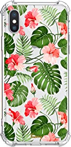Tropical iPhone X XS Case for Summer Girls Clear with Cute Palm Tree Leaves Design Shockproof Protective Red Flowers Pattern Floral Back Cover for Apple iPhone X XS Women Flexible Slim Fit Rubber Case