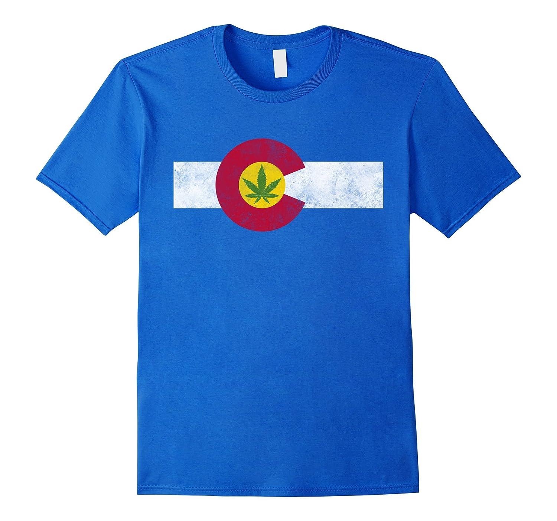 Colorado State Flag Marijuana Weed Cannabis Retro T-shirt-RT