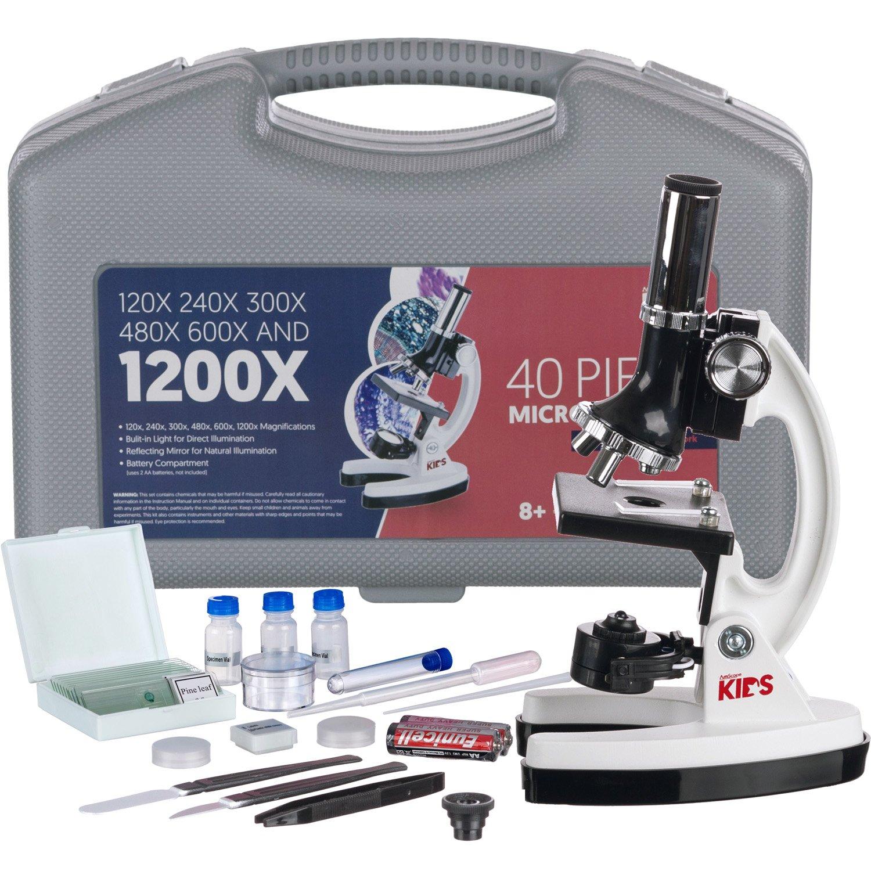 AmScope-Kids M30-ABS-KT1-W-I 120X-240X-300X-480X-600X-1200X 48pc Metal Arm & Base Educational Kids Biological Microscope Kit by AmScope