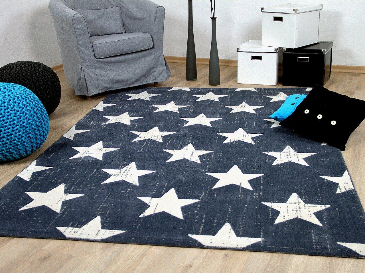 Soft Touch Velour Designer Teppich Canvas Sterne Blau in 4 Größen