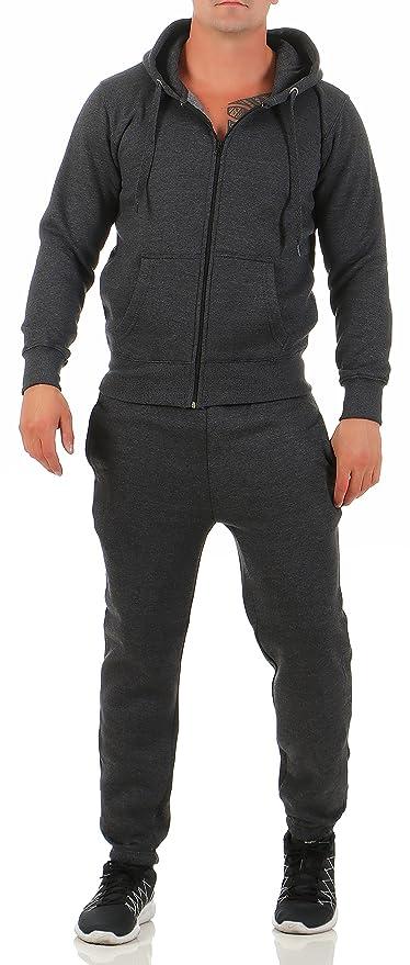 Chándal para hombre con sudadera y pantalón, de color gris, negro ...