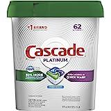 Cascade Platinum Dishwasher Pods, Actionpacs Dishwasher Detergent, Fresh Scent, 62 Count